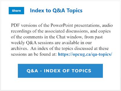 Index to Q&A Topics