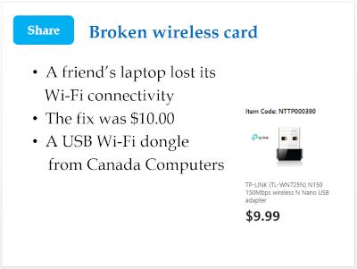 Broken wireless card